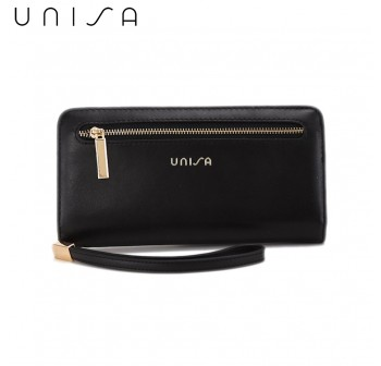 UNISA Faux Leather Bi-Fold Long Wallet With Strap-Black