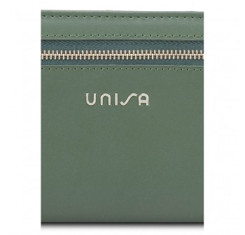 UNISA Faux Leather Bi-Fold Long Wallet With Strap-Green