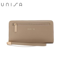 UNISA Faux Leather Bi-Fold Long Wallet With Strap-Taupe