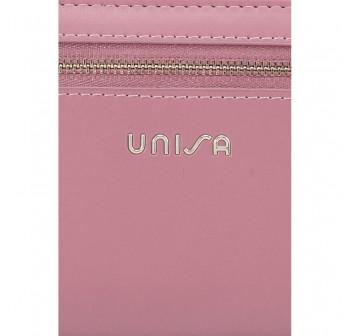 UNISA Faux Leather Bi-Fold Long Wallet With Strap-Purple