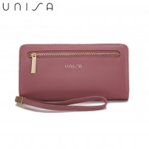 UNISA Faux Leather Bi-Fold Long Wallet With Strap-Purple