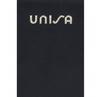 UNISA Faux Leather Ladies Long Zip-Up Purse-Black
