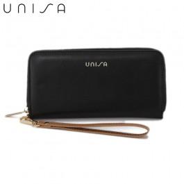 UNISA Faux Leather Ladies Long Zip-Up Purse-Black
