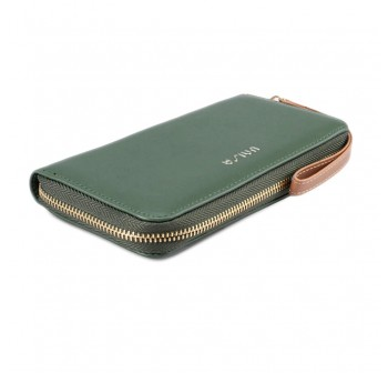 UNISA Faux Leather Ladies Long Zip-Up Purse-Green