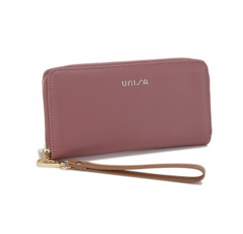 UNISA Faux Leather Ladies Long Zip-Up Purse-Purple