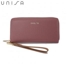 UNISA Faux Leather Ladies Long Zip-Up Purse-Purple