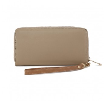 UNISA Faux Leather Ladies Long Zip-Up Purse-Taupe