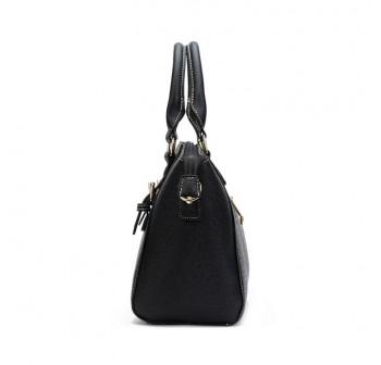 UNISA Saffiano Texture Convertible Satchel (Black)