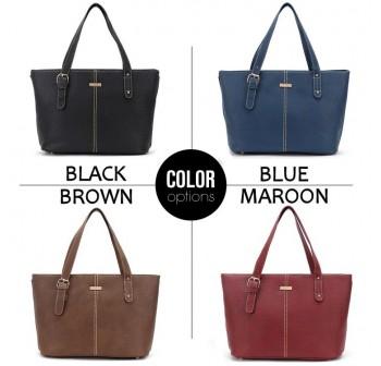 UNISA Vintage Contrast Stitching Ladies Tote Bag (Black)