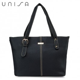 UNISA Vintage Contrast Stitching Ladies Tote Bag (Black)