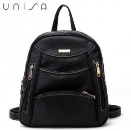 UNISA Vintage Contrast Stitching Ladies Backpack-Black