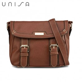 UNISA Saffiano Effect Sling Bag With Flap Over Closure (Brown)