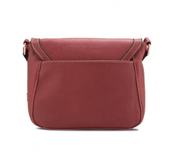 UNISA Saffiano Effect Sling Bag With Flap Over Closure (Red)