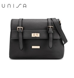 UNISA Saffiano Texture Mini Sling Bag With Turn Lock (Black)