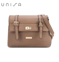 UNISA Saffiano Texture Mini Sling Bag With Turn Lock (Khaki)
