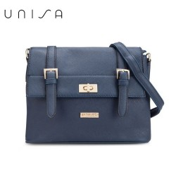 UNISA Saffiano Texture Mini Sling Bag With Turn Lock (Navy Blue)