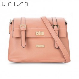 UNISA Saffiano Texture Mini Sling Bag With Turn Lock (Pink)