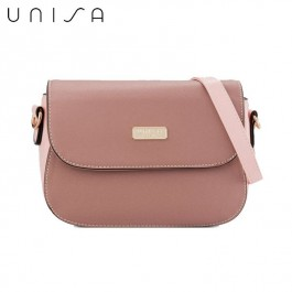UNISA Duo-Texture 2-Way Usage Sling Bag (Pink)
