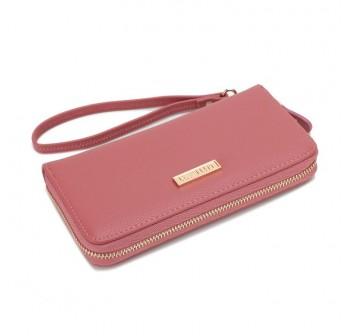 UNISA Textured Ladies Zip-Up Wallet (Pink)