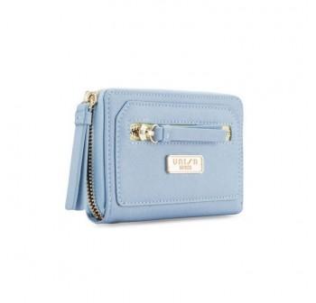 UNISA Saffiano Medium Ladies Zip-Up Wallet (Blue)