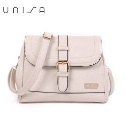 UNISA Faux Leather Sling Bag With Flap Over Closure (Beige)