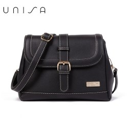 UNISA Faux Leather Sling Bag With Flap Over Closure (Black)