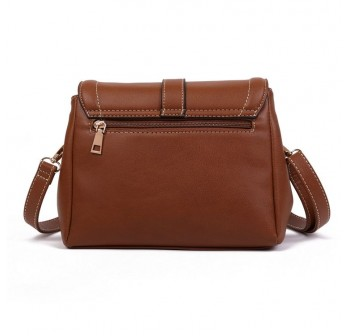 UNISA Faux Leather Sling Bag With Flap Over Closure (Brown)