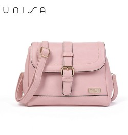 UNISA Faux Leather Sling Bag With Flap Over Closure (Pink)