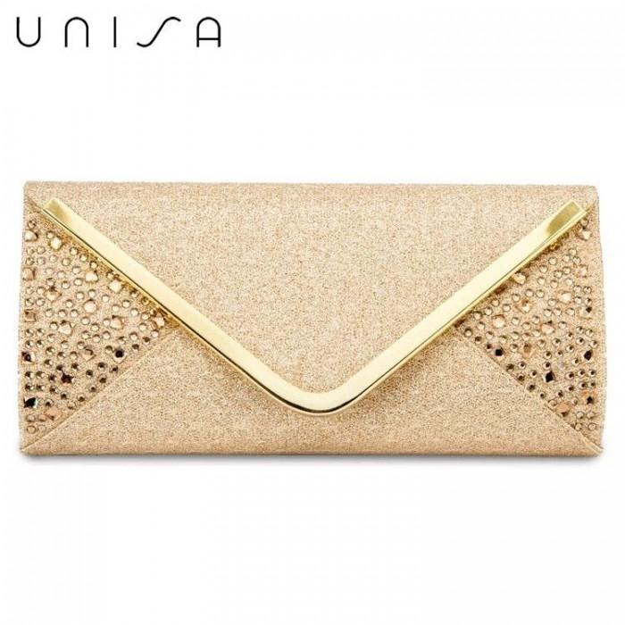 c6fef9203b UNISA V-Metal Dinner Clutch With Glittering Stones & Crystal Embellishment ( Gold)