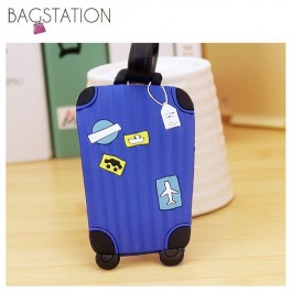BAGSTATIONZ Assorted designs Soft PVC Luggage Tag (Blue)