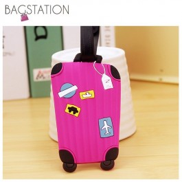 BAGSTATIONZ Assorted designs Soft PVC Luggage Tag (Rose Pink)