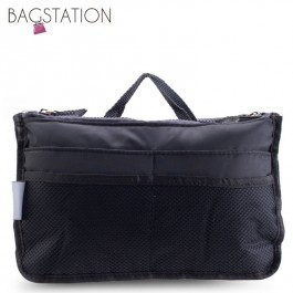 Bagstationz Premium Lightweight & Water-Resistant Multi-Compartment BAG IN BAG Organizer (Black)