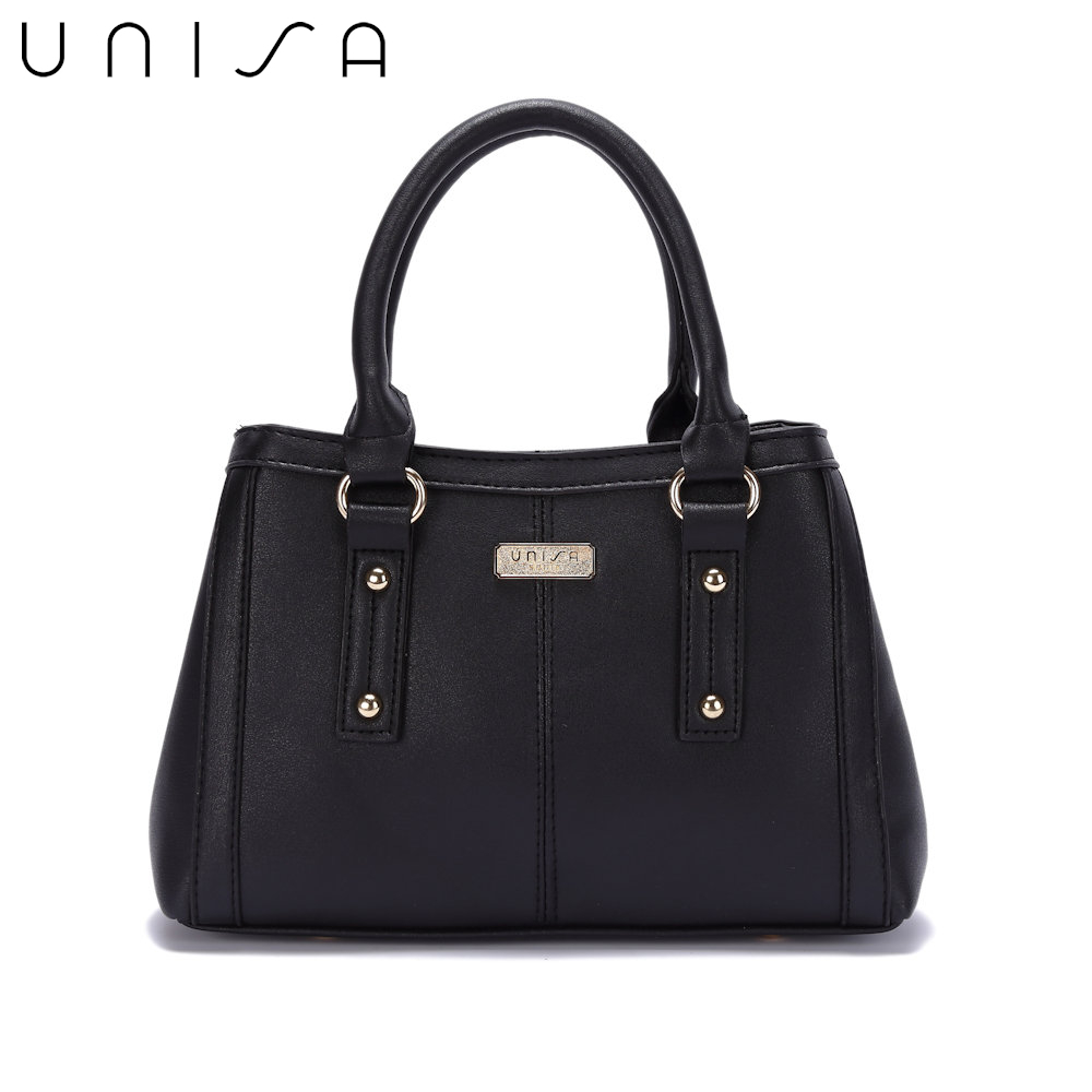 UNISA Faux Leather Convertible Top Handle Bag-Black