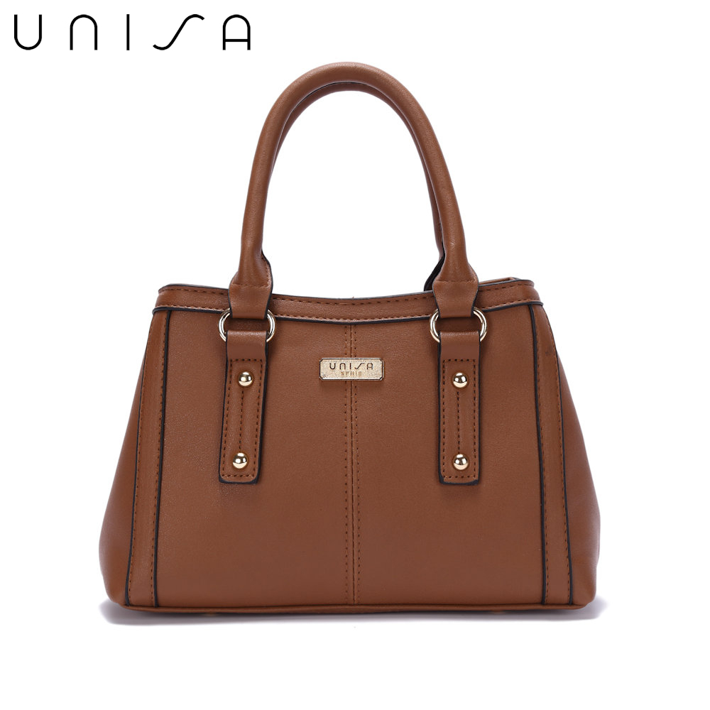 UNISA Faux Leather Convertible Top Handle Bag-Brown