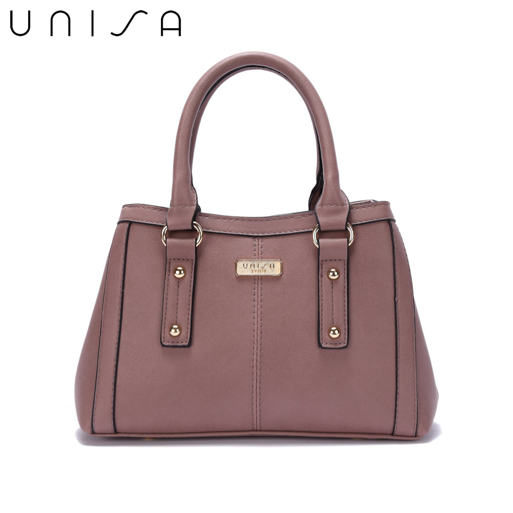 UNISA Faux Leather Convertible Top Handle Bag-Purple