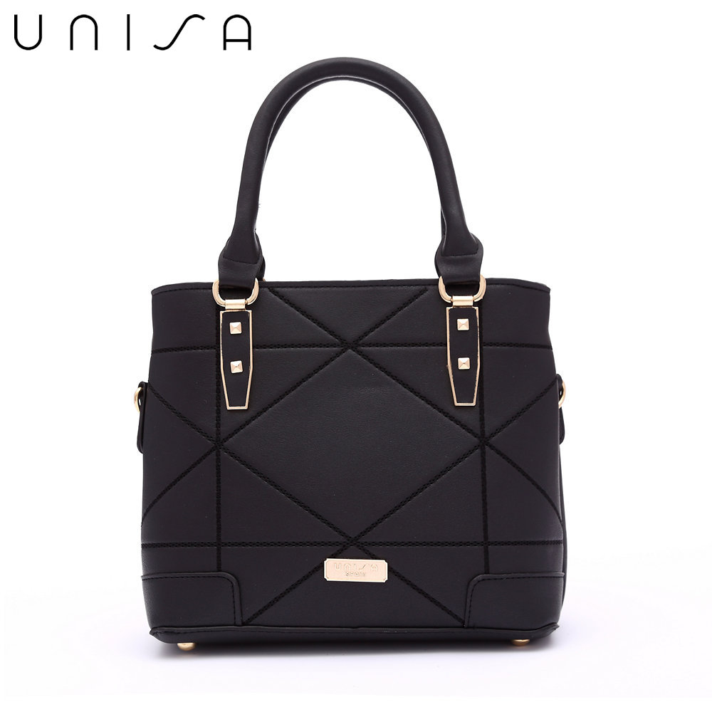 UNISA Faux Leather Quilted Convertible Top Handle Bag-Black