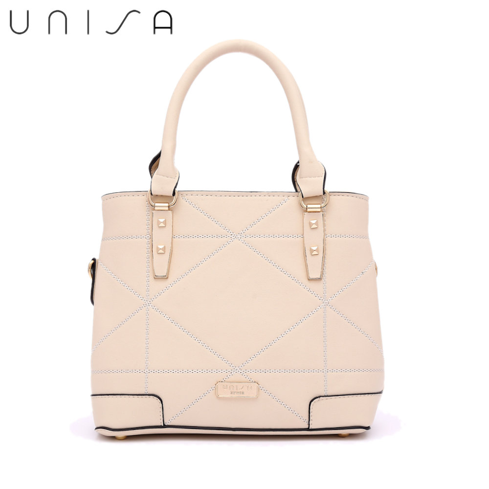 UNISA Faux Leather Quilted Convertible Top Handle Bag-Beige