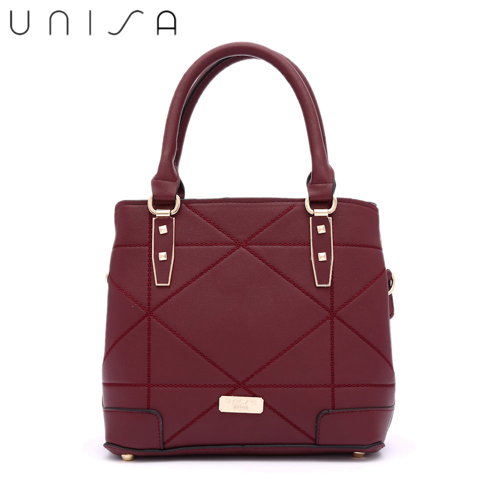 UNISA Faux Leather Quilted Convertible Top Handle Bag-Maroon