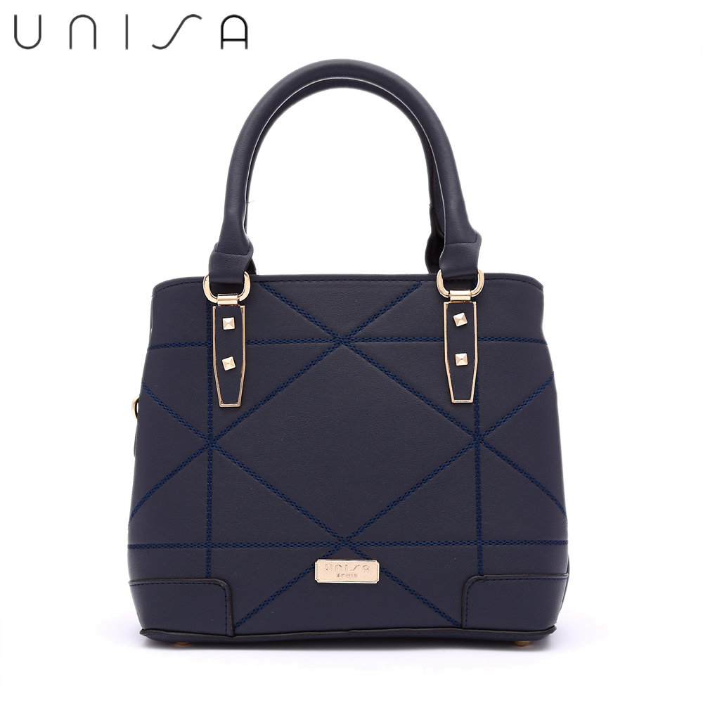 UNISA Faux Leather Quilted Convertible Top Handle Bag-Navy Blue