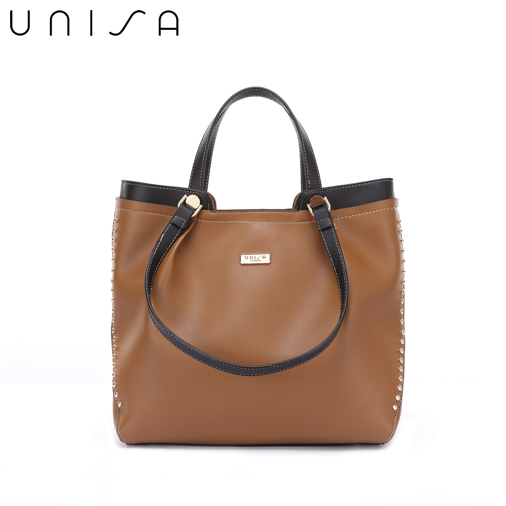 UNISA Colour Block Faux Leather 2-Way Usage Top Handle Bag-Brown