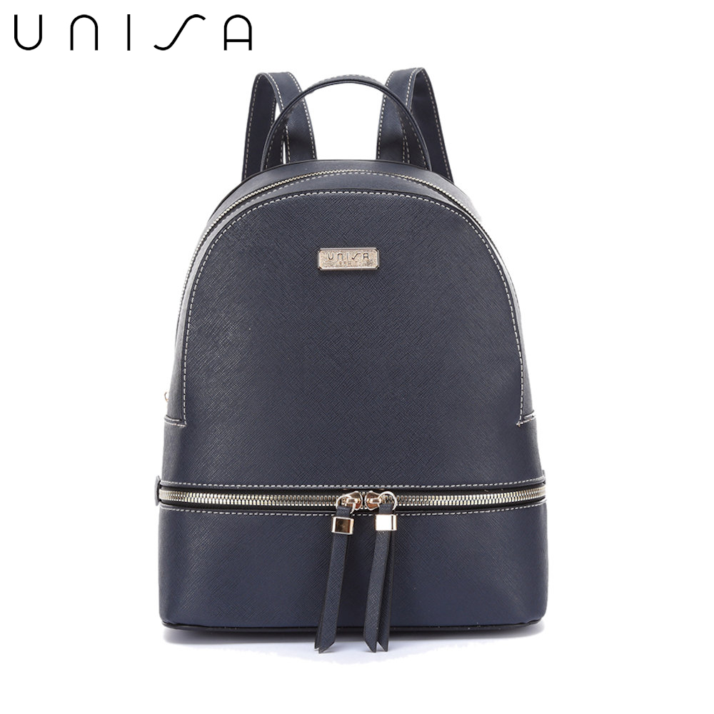 UNISA Saffiano Effect Backpack-Navy Blue